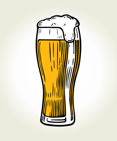 Glass of beer isolated on white background, hand-drawing. Vector vintage engraved illustration.