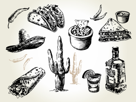Mexican traditional food menu. Hand drawn sketch vector illustration. Vintage Mexico cuisine set