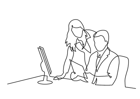 Continuous line drawing of man and  woman talking in the office. Vector illustration.