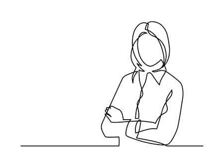 Business woman with crossed arms, single line drawing vector illustration.