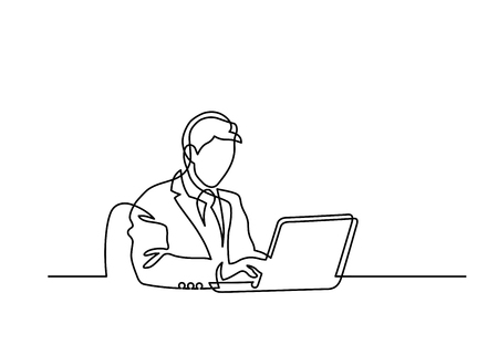 Continuous line drawing of man sitting behind laptop computer on white background.Vector illustration.