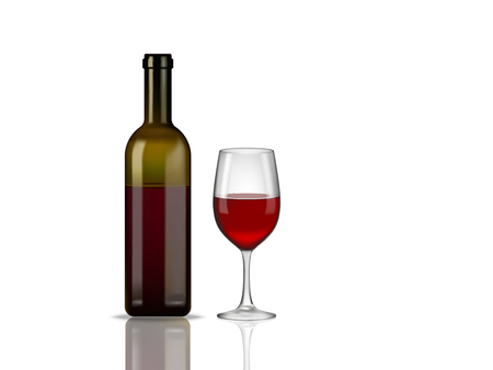 Realistic bottle of red wine and glass on white background. Vector illustration Illustration