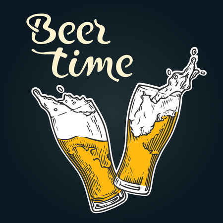 Two glasses of beer toasting creating splash with lettering, Beer time. Illustration