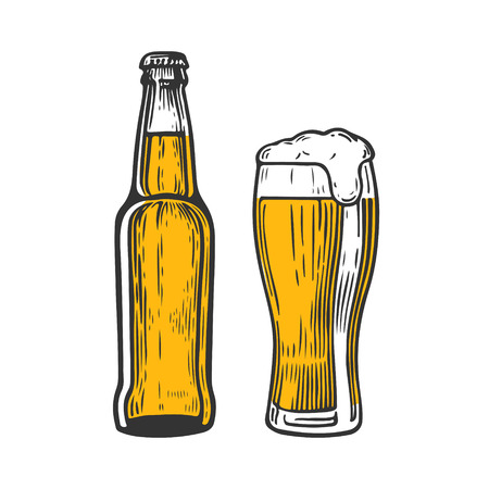 Bottle and glass of beer isolated on white background, hand-drawing. Vector vintage engraved illustration. Stock Vector - 97771775