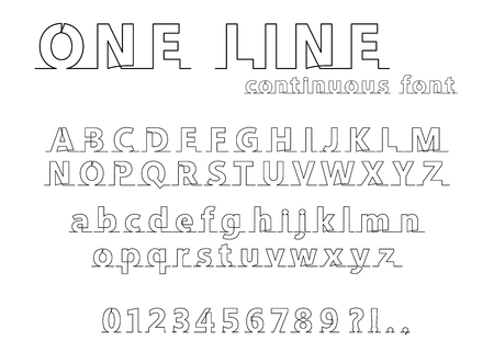 Continuous line alphabet and numbers on white background. Stock Illustratie