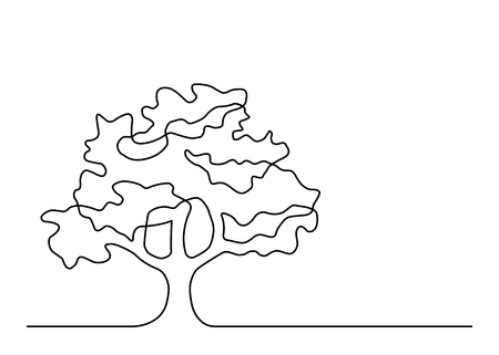 Continuous line drawing of tree on white background. Vector illustration