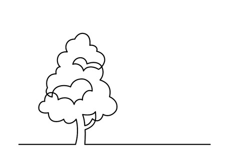 Continuous line drawing of tree on white background. Stock Illustratie