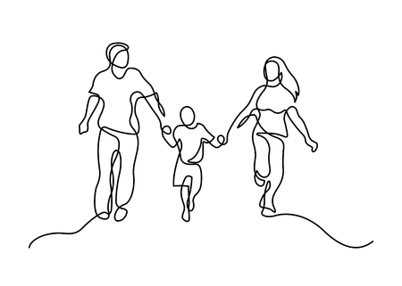 Continuous line drawing of happy family  running. Vector illustration on white background