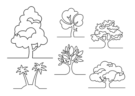 Set of trees - continuous line drawing. Vector illustration
