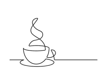 Continuous line drawing of coffee cup on white background. Vector illustration