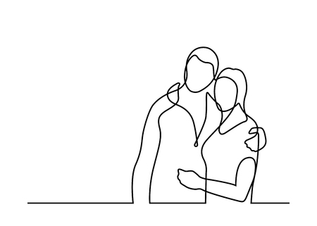 Continuous line  drawing of loving couple. Vector illustration on white background Stock Illustratie