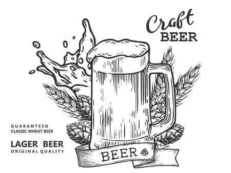 Wheat beer ads, beer mug with beer and ribbon. Vintage vector engraving illustration for web. 일러스트