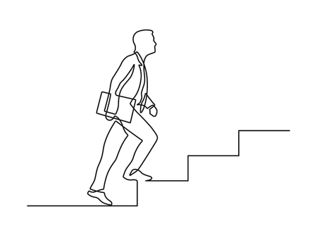 Continuous line drawing of businessman going up the stairs. Vector illustration