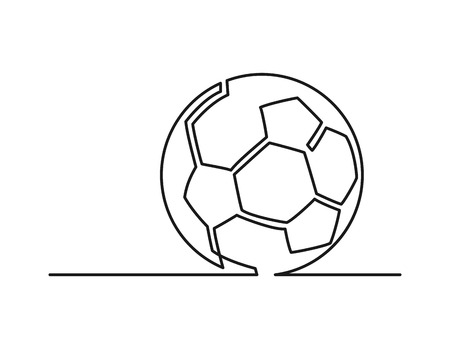 Continuous line drawing of soccer ball. Vector illustration Ilustração