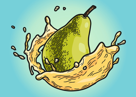 Pear with juice splashing. Vintage vector engraving illustration for web, poster. Hand drawn design element isolated on blue background. Stock Illustratie