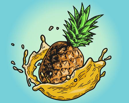 Hand drawn design element pineapple with juice splashing on colored illustration. Stock Illustratie