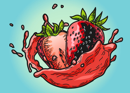 Hand drawn design element of strawberry with juice splashing on colored illustration.