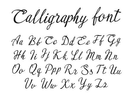 Vector handwritten lettering alphabet, calligraphic font on white background Stock Illustratie