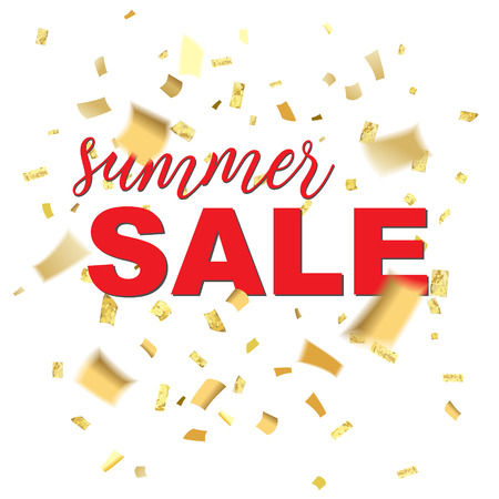 Summer sale text with confetti blur Illustration.