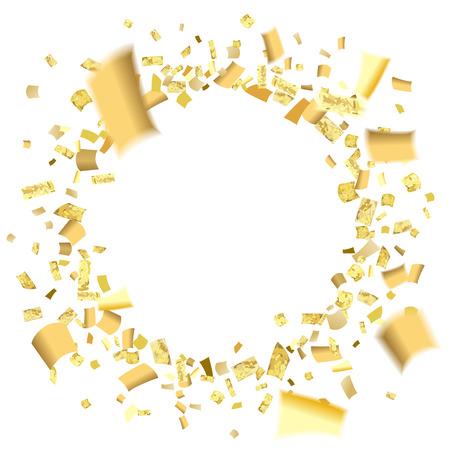 Golden confetti circle blurred effect.