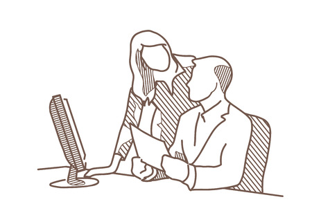 Business people working together in the office. Vector illustration