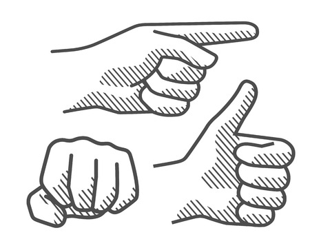 Drawing hand sign 2