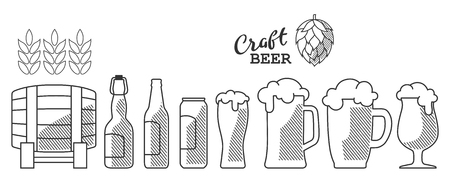 Set of beer glass, mug, barrel, bottle, and hop. Craft beer calligraphy design and minimal flat vector illustration of different types of beers. Oktoberfest equipment. Restaurant illustration