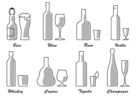 ensemble de types d'alcool n&b Vecteurs