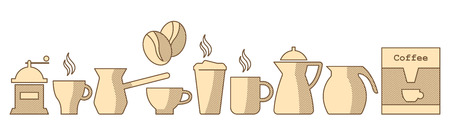 Flat coffee icons set. Different coffee drinks isolated on white background. Espresso, macchiato, chocolate, ristretto, mocha, irish, cocoa, frappe, glace, americano, latte, cappuccino. - Vector illustration.  イラスト・ベクター素材