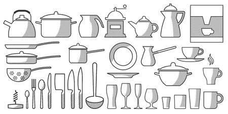 Vector Set Kitchen Utensils. Cooking tools flat style. Cook equipment isolated objects. Contains such Icons as Plate Stack, Wine glass, Unbreakable Dishes and more - Vector illustration.