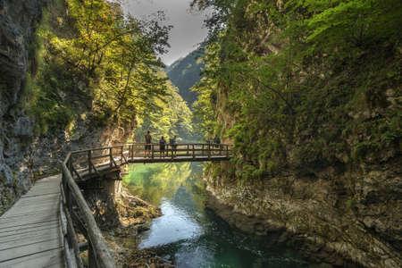 협곡 Vintgar, Triglav 국립 공원, 슬로베니아 스톡 콘텐츠
