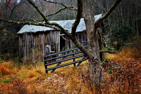 Abandon shed on a farm Stock Photo