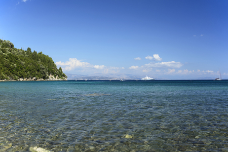 Ionian Sea - view from the shore of Ipsos, Corfu (Ionian Islands, Greece)