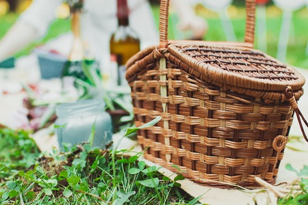 pic nic: Healthy summer picnic laid out on a fresh red and white checked country cloth on green grass with croissants, jam, fresh fruit, butter and blueberries, overhead view