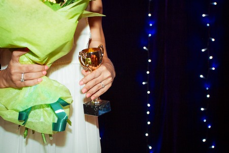 rewarding: A lot of gold cups rewarding of winners