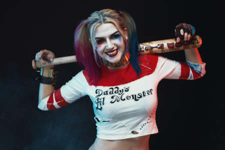 squad: Cosplayer girl with in   costume. Halloween make up. Stock Photo