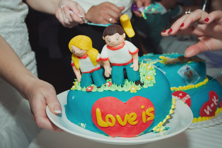 topper: Wedding cake with figurines. Wedding cake. figurines