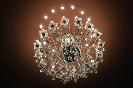 Close up on crystal of contemporary chandelier Stock Photo