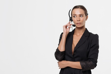 Lady with deep neckline and head microphone Stock Photo - 111411001