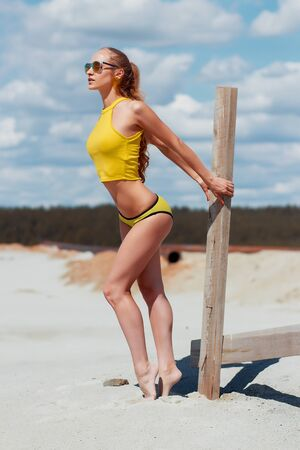 Side view of seductive skinny woman graceful stretching arms and buttocks holding wooden part of fence in sandy beach