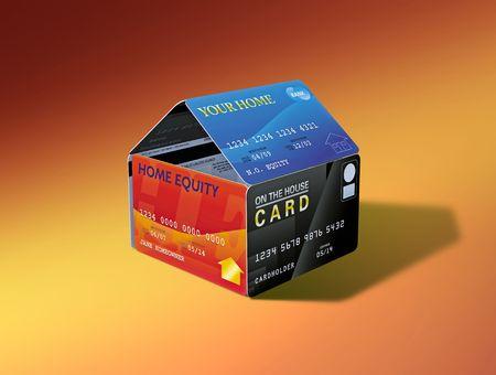 エクイティ リンク デビット カードから造られる家 写真素材 - 5168998