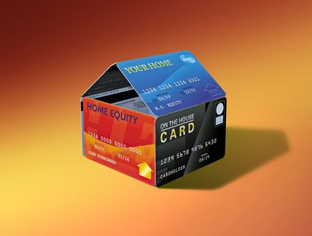 House built out of equity-linked debit cards photo