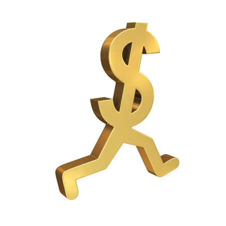A gold dollar symbol with legs running by the viewer.