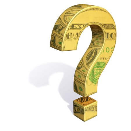 A gold question mark with images of dollar bills reflecting off its surface.