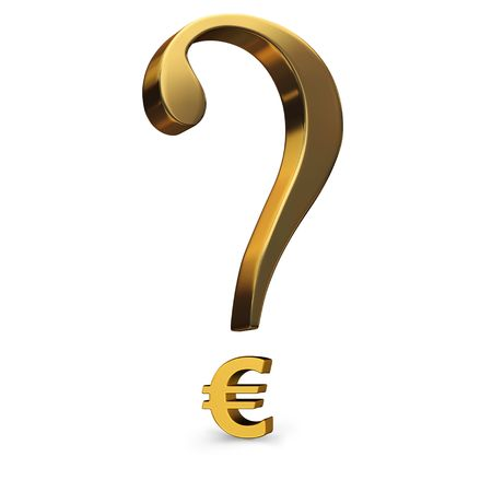 A gold question mark incorporating a euro symbol as it's dot. Stock Photo - 5169006