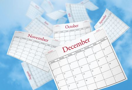 Calendar Pages being blown into the sky.