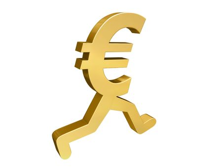 cutback: A gold Euro symbol with legs running past the viewer.