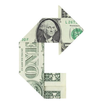 Dollar bill folded in the shape of a U-turn symbol arrow, isolated on a white background. 写真素材