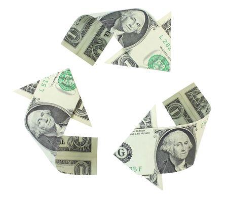 ロゴをリサイクルのドル札、曲線矢印に折り畳まれているされ、白い背景上に分離されています。