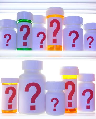 Close crop of medicine cabinet shelves filled with pill bottles, each labeled with a red question mark.  Stock Photo - 5666475